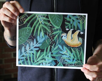 Sloth in the Forest; Fine Art Print