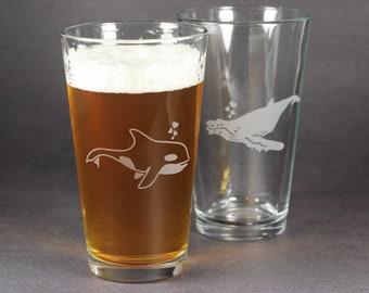 Whale Pint Glass - Orca or Humpback
