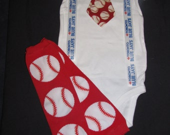 TORONTO BLUE JAYS inspired baseball outfit for baby boy - tie bodysuit with suspenders and leg warmers