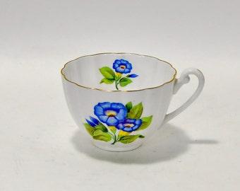 Shelley Fine Bone China Orphan Teacup England Blue Flowers