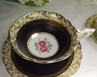 Royal Stafford Cabinet Teacup and Saucer Black , Gold Chintz and Rose Vintage Exquisite