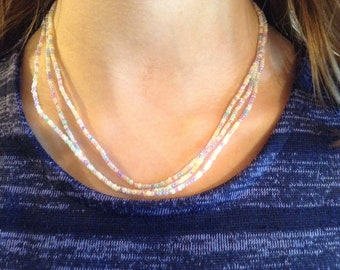 Pastel Color Seed Bead Necklace