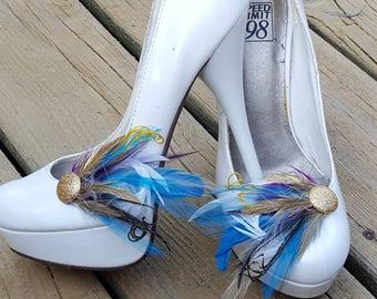 Shoe Clips, Purple Gold Turquoise Yellow, gold shoes clips, feather shoe clips, women's accessories,  shoe jewelry,  shoe jibitz, weddings