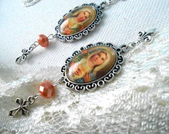 Virgin Mary Earrings Catholic Jewelry Sacred Heart Earrings Cross Earrings Blessed Mother Jewelry Gift for Her