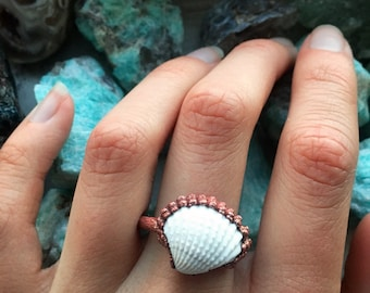 California Shell Electroformed Copper Ring Handmade Size 7.75