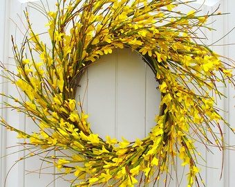 "Round Yellow Forsythia Wreath for Front Door Decor~Farmhouse Decor~Farmhouse Style~Fixer Upper~Spring and Summer Wreaths~22"" Diameter"