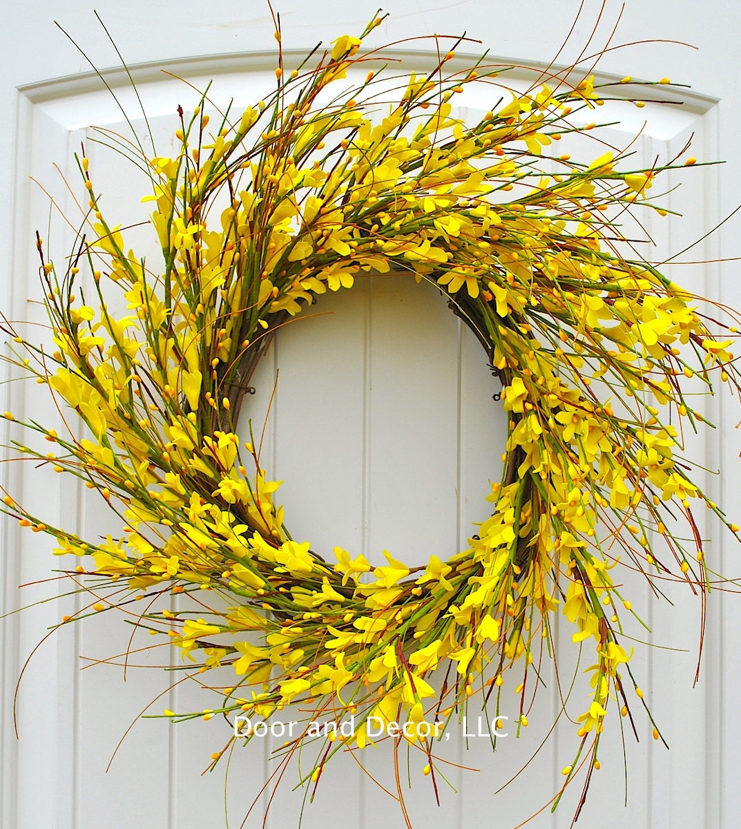 Round Yellow Forsythia Wreath for Front Door DecorFarmhouse