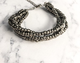 On Sale, Metallic Grey Glass Beaded Bracelet, Edgy Jewelry, Adjustable Bracelet
