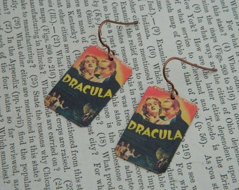 Dracula earrings vintage movie poster jewelry mixed media jewelry