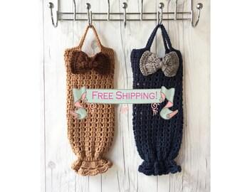 Crochet bag holder, plastic bag holder, grocery bag holder, plastic grocery bag holder, crochet grocery bag holder, plastic bag organizor