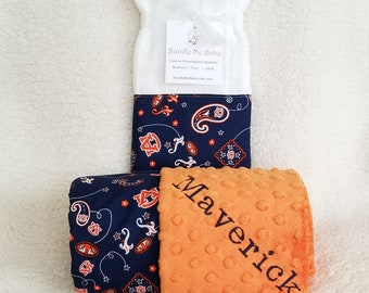 Auburn University Baby Name Minky Blanket Football Basketball PERSONALIZED Boy and Girl Baby Shower Gift Set