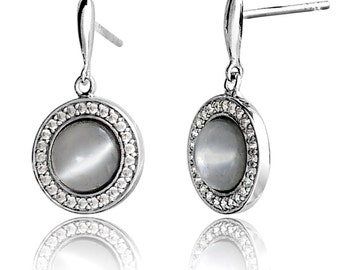 Moonstone Earrings, Silver with CZ Diamonds, (Round Drops) - Model: AEE5012