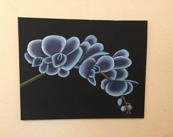 Blue orchid branch from the left oil painting on canvas, blue flowers, oil on canvas,