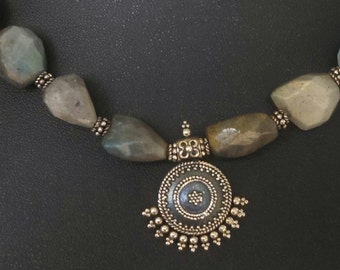 Labradorite and Sterling Silver Beaded Necklace