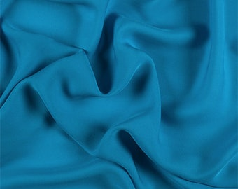 Bright Blue Silk Double Georgette, Fabric By The Yard