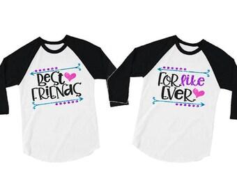 Glitter Best Friends For Like Ever Baseball Shirt