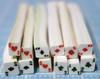 20 pcs poker symbol nail canes -  Hearts, Diamonds, Spades, Clubs MIX