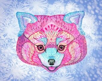 Winter Red Panda, animal art print, pet illustration, size 10'x8'/A4
