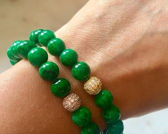 emerald green gemstone beaded bracelet