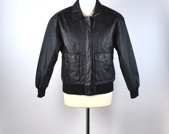 Black Leather Bomber Jacket by Avanti, Size Small