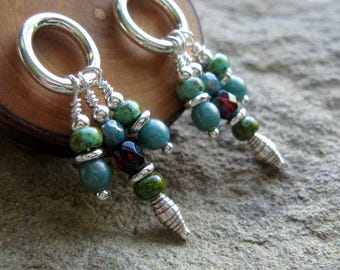 Sterling Silver Post Dangle Earrings-Minimalist Posts-Czech Glass-Turquoise-Teal-Red-Beaded Post Earrings-Dangle Post Earrings