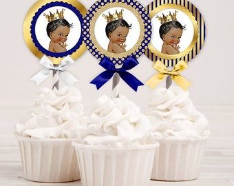 Cupcake Topper Circles | Royal Blue & Gold | African American Little Prince | Digital Instant Download