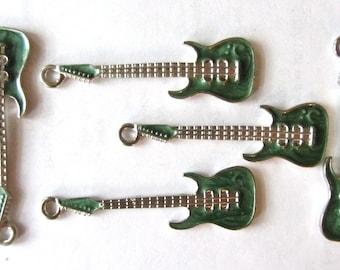 5 pcs. Enamel Marbled Green GUITAR Charm Pendants