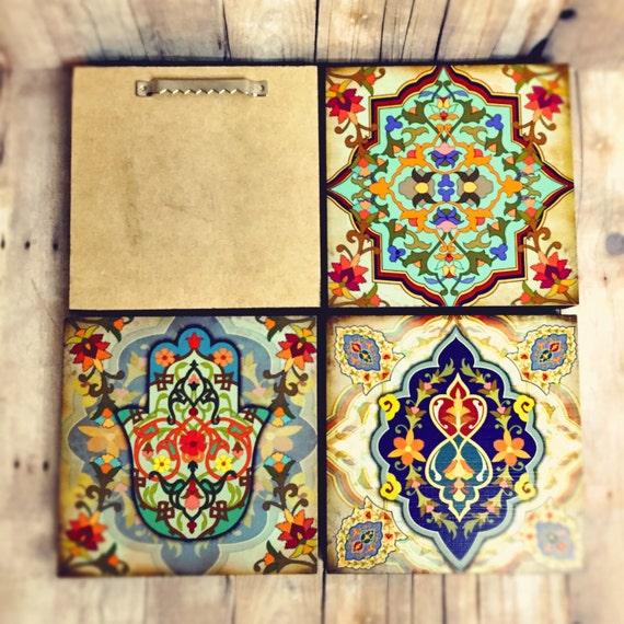 Moroccan Wall art Set hamsa Block Set of 4 Hamsa wall art