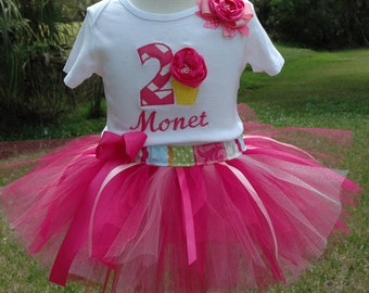 Girls 2nd Birthday Tutu Outfit  Pink Chevron Number With  2 Sewn Includes Bow And Emboidered Name