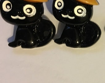 Clearance!!!  Halloween Black Cat Witch Stud Earrings  F6