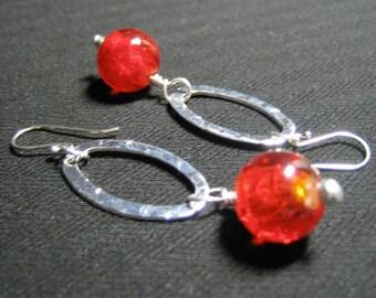 Orbit - silver orange glass bead earrings