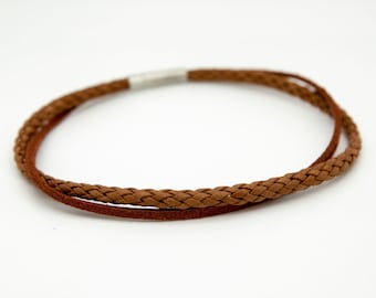 Brown leather choker, tan choker necklace - the Django