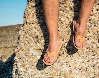 Mens leather sandals Greek leather flip flops for men