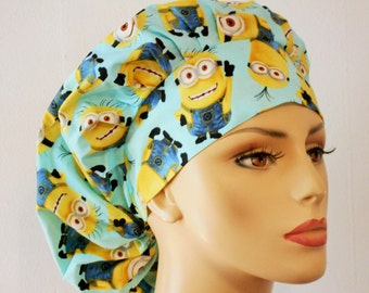 Minions Indispicable Me Surgical Womens Bouffant Scrub Hat- Minions Indispicable Me Turquoise Background #1