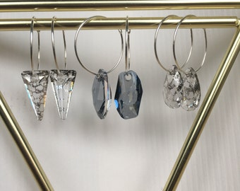 Silver hoops with crystal, simple earrings
