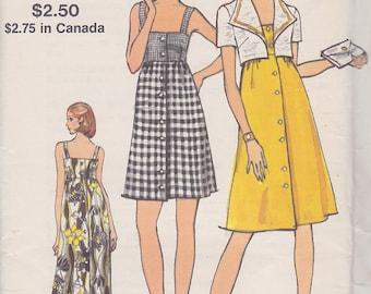 1970s Scintillating Sundress Vintage Pattern, Vogue 8301, Mini, Midi or Maxi, Empire High Waist, Gathers, Button Front, Big Collar Bolero