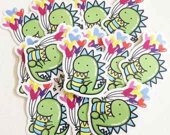 Moomii, the T-Rex dinosaur - Vinyl Sticker - Dinosaur vinyl sticker, dinosaur stickers, die cut sticker, planner sticker, laptop sticker