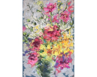 Postcard print, pastel painting, art print, flowers