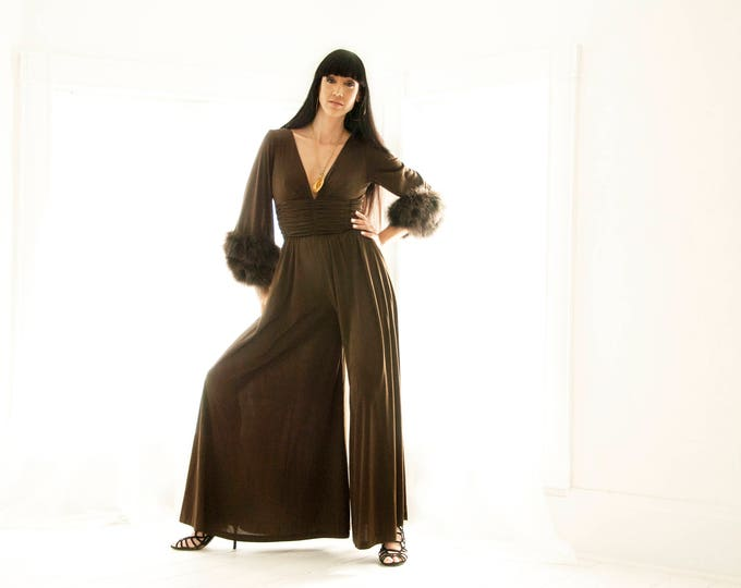 Vintage brown pantsuit, palazzo pants feathers, Lilli Diamond, wide leg formal outfit jumpsuit, bell sleeves, 1970s boho retro sexy M L