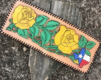 Leather Yellow Rose of Texas Billfold Wallet