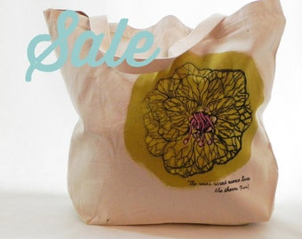 SALE Screenprint Cotton Canvas Green Rose Flower With Handpainted Details Tote Bag