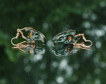 Green and Amber Mouse Skull Earrings