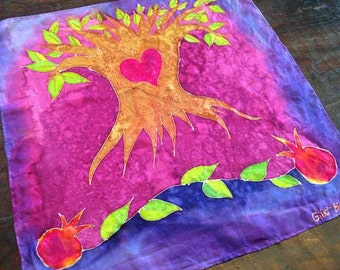 "Hand-Painted Square Silk Scarf: ""Tree of Love"" - Woodland theme, Purple and Magenta Tree of Life with Heart, Pomegranates & Copper Detailing"