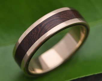 Wood Ring Yellow Gold Lados Nacascolo - ecofriendly wood wedding band, 14k recycled yellow gold and wood wedding ring, mens gold wood ring