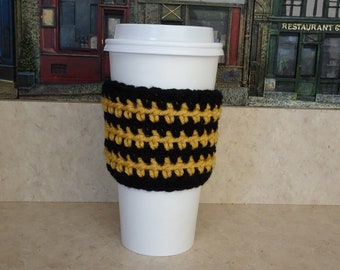 Black and Gold Coffee Cup Sleeve, Crochet Cup Sleeve, Crochet Cup Cozy, Cup Cozy, Reusable Cup Sleeve, Coffee Lover Gift, Tea Cozy,