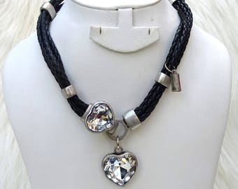 Retro Unique Leatherette Necklace with Bold Love Heart Pendant Fashion Necklace Jewellery