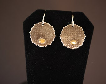 Textured Sterling Silver Earrings with Brass Button (060818-019)