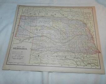 Nebraska / Kansas Maps from 1892 New Popular Atlas of the World - 1 Book Page Ready to frame -Vintage Collectible Ephemera Art Print  31-149