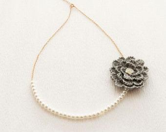 White Glass Pearl Necklace - Crochet Flower Necklace - Chain Necklace - Elegant Necklace -Minimalist Necklace