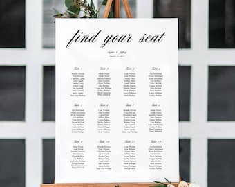 6 Sizes Wedding Seating Chart,Seating Chart Printable,Template,Contemporary,Formal Script,Seating Board, Wedding Sign,PDF Instant Download